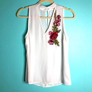 Embroidered Rose Sheer cutout tank